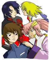 Athrun, Cagalli, Kira, Larcus by AsherothTheDestroyer