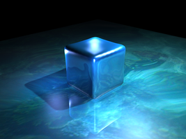Reflective Blue Cube Wallpaper by DarkSfisher7