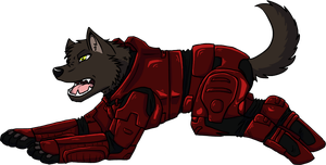 halo wolf commision by Ocrienna