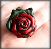 Dark Garden, Red Rose Ring by NeverlandJewelry
