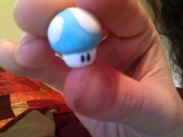 mini blue mario mushroom charm by emilie-draw