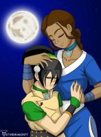 Katara and Toph in Love by StarDragon77