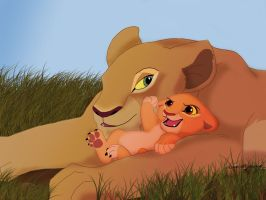 Queen Nala and infant Kiara by Elyar-Wolf