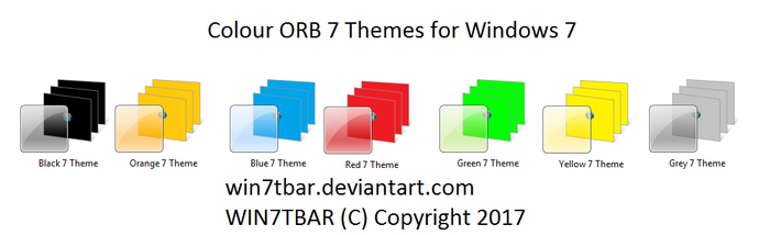 Colour ORB 7 Themes for Windows 7 by WIN7TBAR