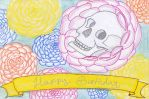Birthdaycard Skull and Flowers - English by DarkMysteryCat