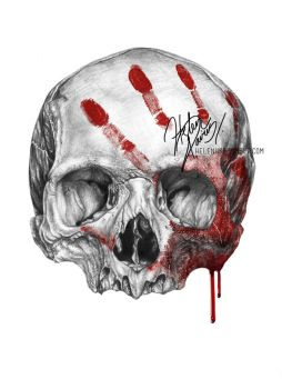 Skull and blood drawing by Helenhsd