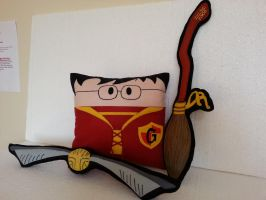 Handmade Harry Potter Gryffindor Quidditch Pillow by RbitencourtUSA