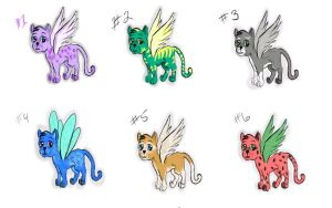 Winged Kittys Adoptable Batch 1  Points by LilWolfStudios