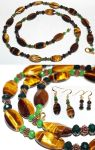 Jewelry Set: Tiger's Eye and Green Crystals by LissaMonster