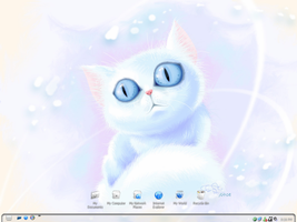 White Blue-Eyed Cat Desktop by Shrantellatessa
