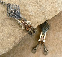 A Crawdad Went to Courtin' - Zipper Earrings by deathbysunset