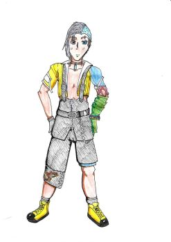 Khyla in Tidus' clothes by AmaniaclikeNoiz