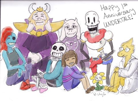 Happy 1st Anniversary Undertale! by WaterLily-Gems