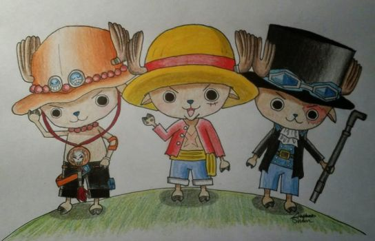 Chopper as Luffy, Ace, Sabo by xHoshaxBerizx
