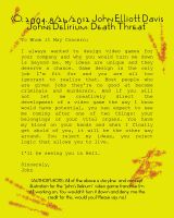 John's Delirium: Death Threat Concept by LittleGreenGamer