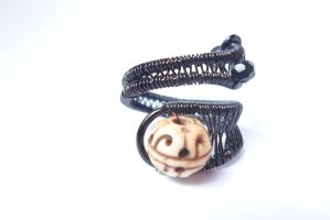 Adjustable wire wrappes bone ring by Toowired