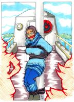 Katara tied to the mast in color by DiDRulez