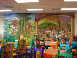Rain forest and Mex village by MuralsbyLeBold