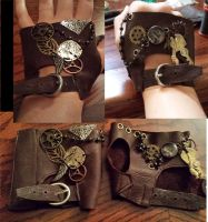 Leather Steampunk Fingerless Gloves by CaptainMorganTeague