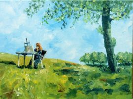 Painting en plein air Outdoor Studio by NancyvandenBoom