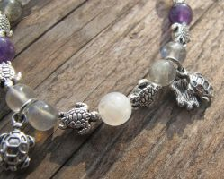 Silver and Shell Turtle Bracelet Closeup 2 by Windthin