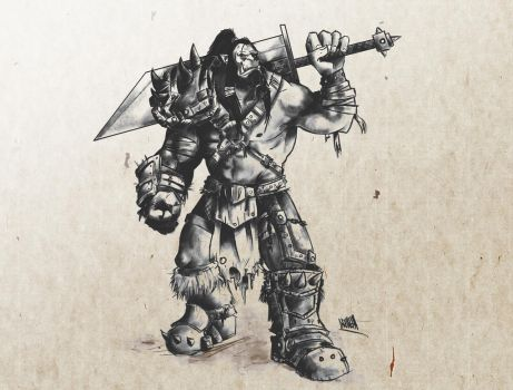 Another orc (ink) by AskraOne