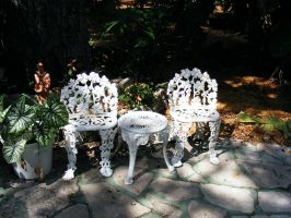 White metal garden chairs by elf-fu-stock