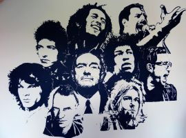 Wall drawing - Awesome singers and musicians by LucioL-2zR
