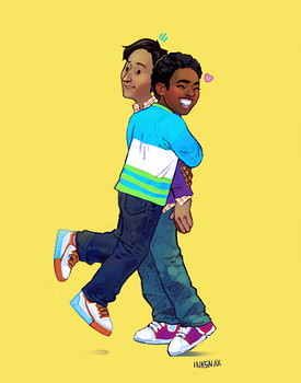 Troy x Abed Hug by inksnax