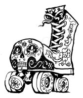 Day of the Dead Roller Skate by rawjawbone