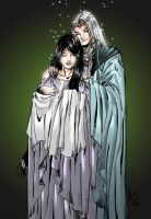 Melian and Thingol with baby Luthien by avarts74