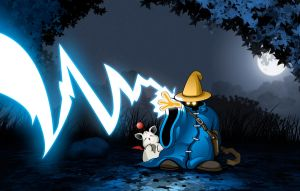 Black Mage Escorting Moogle by Trebeck