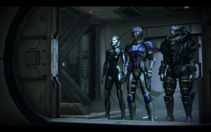ME3 EDI, Jane Shepard and Garrus by chicksaw2002
