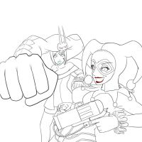 Clash of the Jesters Lineart by dudeunderscore
