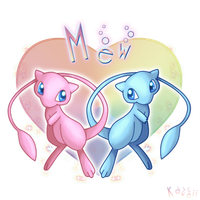 Mew and shiny Mew by Kaweii