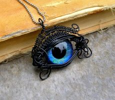 Wire Wrap - Black and Blue Beholder Kin Eye by LadyPirotessa