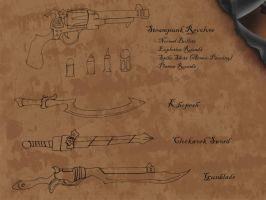 Steampunk - Weapon Concepts by hunterbahamut