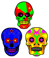 Necro Neon Skulls by GifHaas