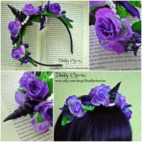 Fantasy Unicorn ombre flowers headband by CountessAudronasha