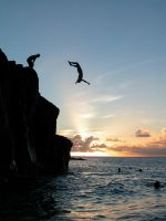 Cliffjumpers at sunset by emyonthebeach