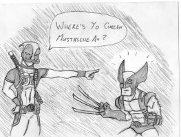 Deadpool and Woverine Curleh Mustasche by reignfire77