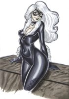 Black Cat Marker Sketch by em-scribbles