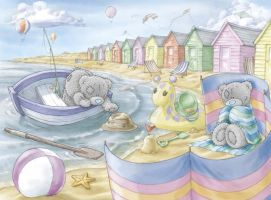 Tatty Teddy seaside scene by ShaneMadeArt