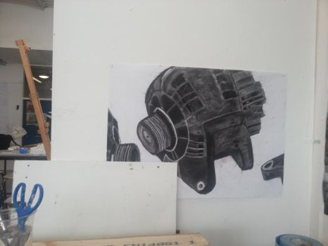 Charcoal Mechanical Drawing (Motor) by Pika-Productions
