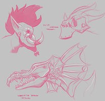 Sketches: Dragons and Vol'jin by Vicsor-S3