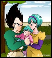 Vegeta Bulma and Bura by dbzsisters