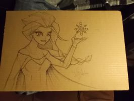 Queen Elsa on cardboard by emceelokey