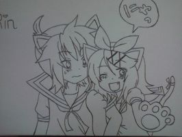 Neko Len and Rin by KarenElricKagamine