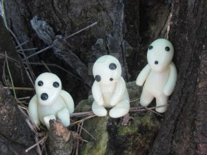 Kodama trio from Studio Ghibli Princess Mononoke by Krejdar