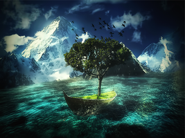 Tree On A Boat PSD file by ultradesignsgfx